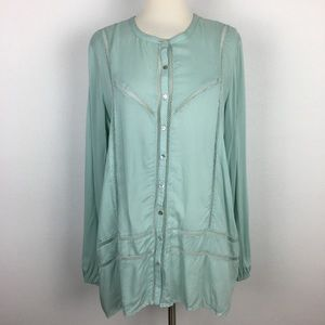 Sundance Mint Green Button Front Top Medium